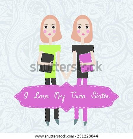 Happy birthday card invitation background twins stock illustration happy birthday card invitation background for twins with text i love my twin sister bookmarktalkfo Gallery