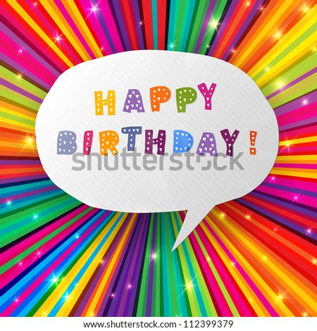 Happy birthday card on colorful rays background. Raster version, vector file available in portfolio. - stock photo