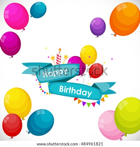 Happy Birthday Card Template with Balloons  Illustration
