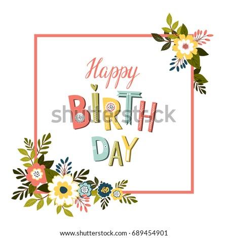 Happy Birthday Card Template Happy Birthday Stock Illustration