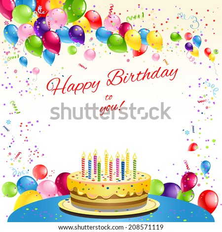 Happy birthday card with cake and balloons. Place for text. Raster version. - stock photo