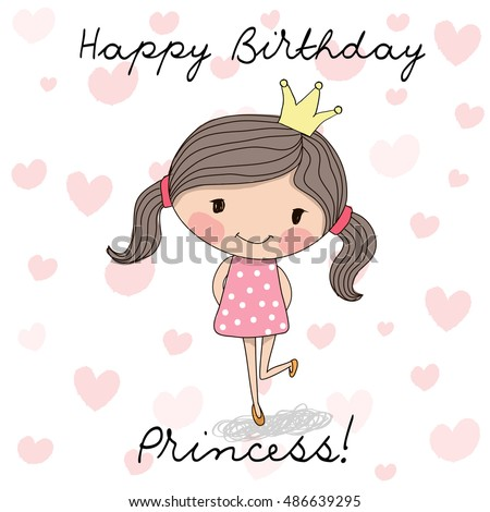 Happy Birthday Card Cute Little Princess Vector 397431013 – Happy Birthday Card for Little Girl