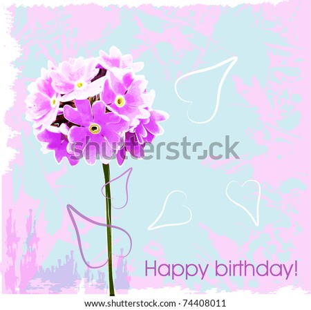 happy birthday card with pink flowers - stock photo