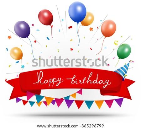 Happy birthday celebration with ribbon and confetti - stock photo