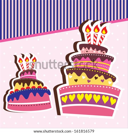 Happy Birthday Chocolate Cake Card Pink Background Template