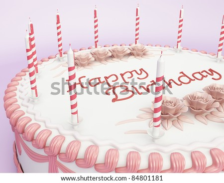 Happy birthday: close-up of cake with candles - stock photo