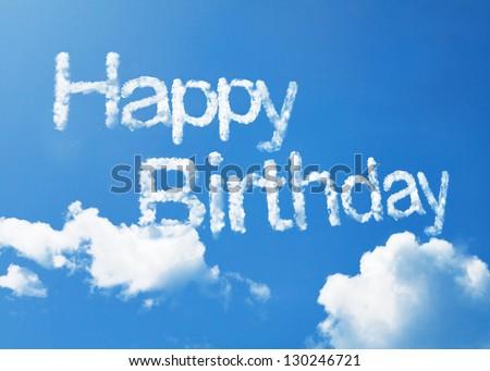 Happy birthday cloud word - stock photo