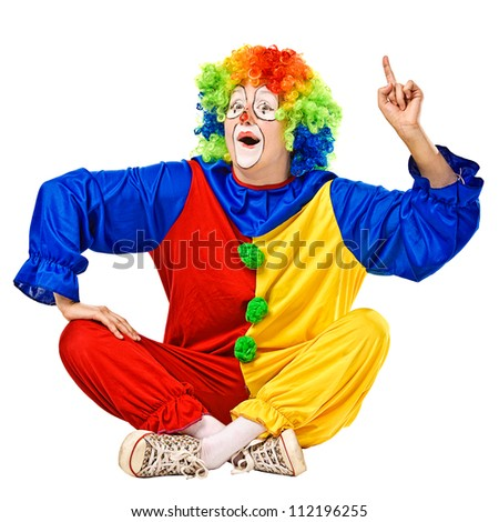 Happy birthday clown has an idea. Isolated - stock photo