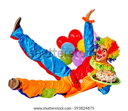 Happy birthday clown holding cake and  bunch of balloons.  Isolated. - stock photo