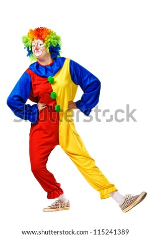 Happy birthday clown. Isolated over white - stock photo