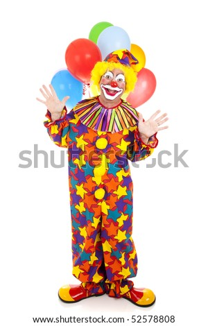 Happy birthday clown with a bunch of balloons.  Full body isolated. - stock photo