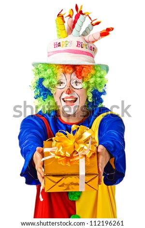 Happy birthday clown with gift box. Isolated over white - stock photo