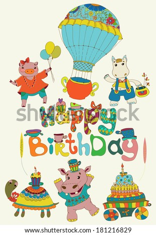 Modern Flat Vector Birthday Card Happy Stock Vector