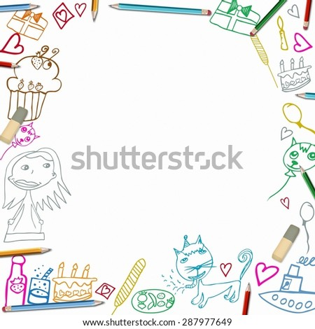 Happy Birthday colorful frame children drawings illustration isolated on white background - stock photo