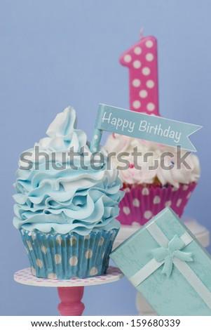 happy Birthday cupcake - stock photo