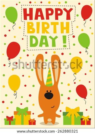 happy birthday, cute little rabbit - stock photo
