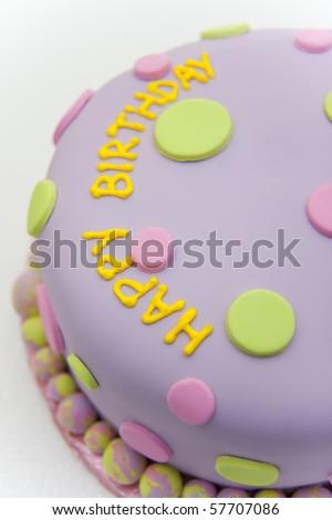Happy birthday fondant cake - stock photo