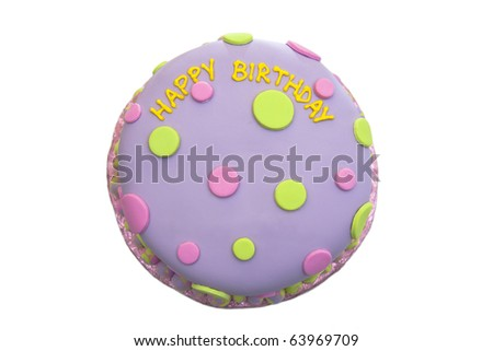 Happy birthday fondant cake with a white background