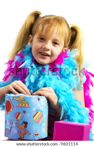 happy birthday for a little girl with red hair - stock photo