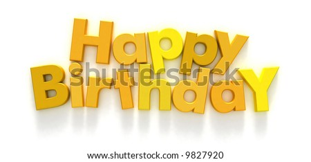Happy Birthday formed with yellow letter magnets on neutral background