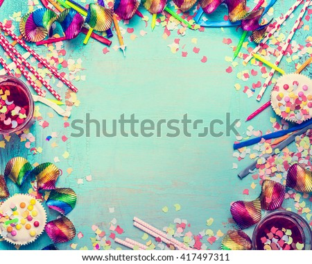 Happy Birthday Frame Party Tools Cake Stock Photo (Edit Now ...