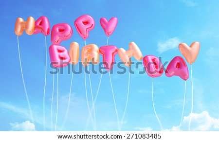 Happy birthday from balloons - stock photo