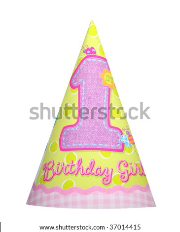 Happy birthday girl party hat isolated on white background - stock photo