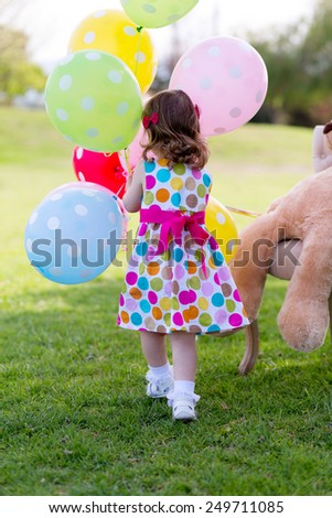 Happy Birthday Girl with colored balloons - stock photo