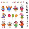 Happy Birthday. Greeting card - stock vector