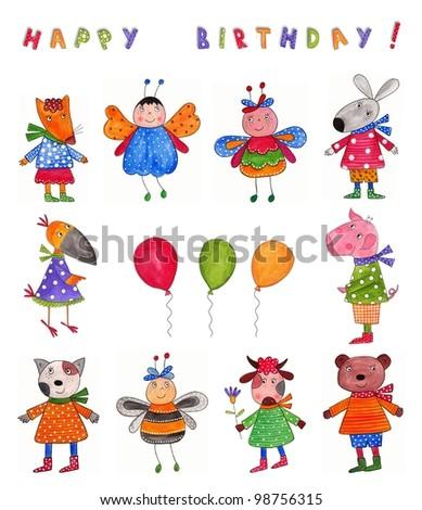 Happy Birthday. Greeting card - stock photo