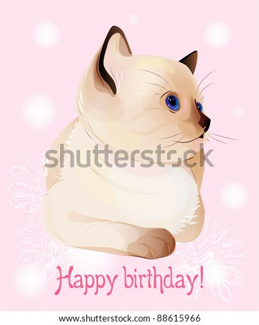 Happy birthday greeting card  with  blue-eyed  little Siamese  kitten on the pink background.  Watercolor style. - stock photo