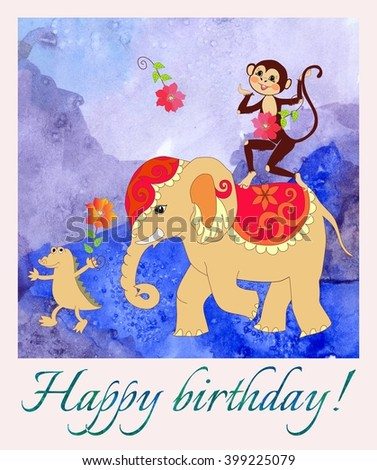 Happy birthday. Greeting card with cute monkey, elephant and small crocodile on watercolor background. Cartoon illustration.