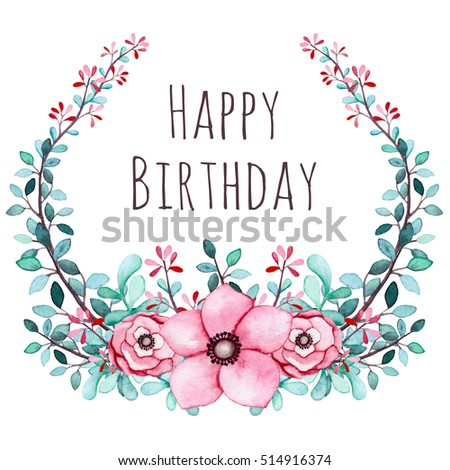 Happy Birthday Greeting Card Watercolor Floral Stock Illustration