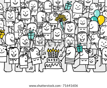 happy birthday - hand drawn cartoon greeting card - stock photo