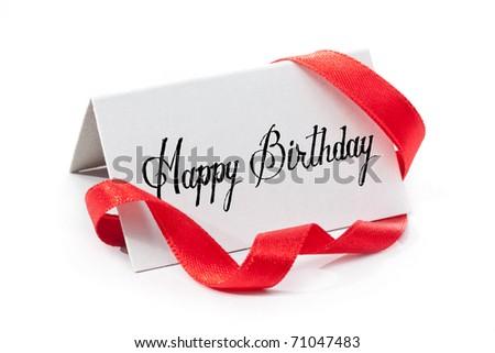 Happy birthday, handwritten label, isolated in white - stock photo