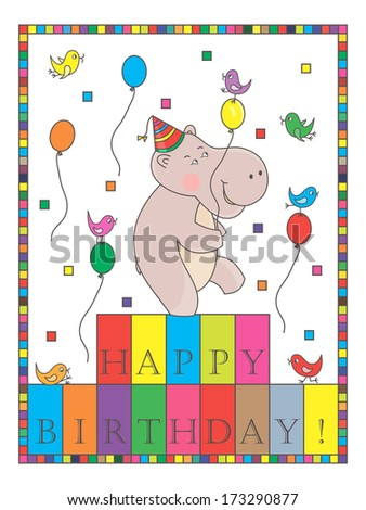 Happy birthday hippo birthday card hippopotamus stock illustration happy birthday hippo birthday card with hippopotamus and birds colorful birthday card bookmarktalkfo Image collections