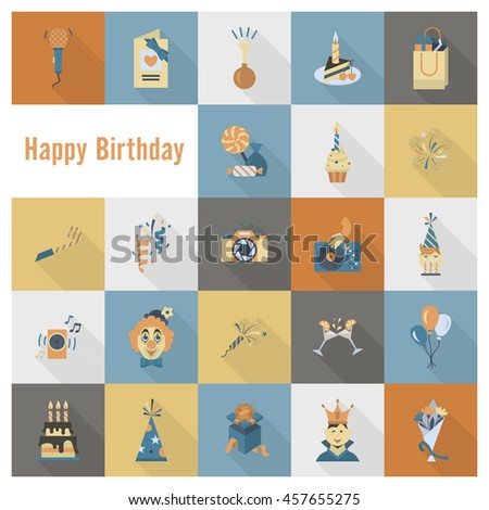 Happy Birthday Icons Set. Simple, Minimalistic and Flat Style. Retro Color. Long Shadow.  - stock photo