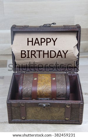 happy birthday  is written on the Brown torn paper in the treasure box.