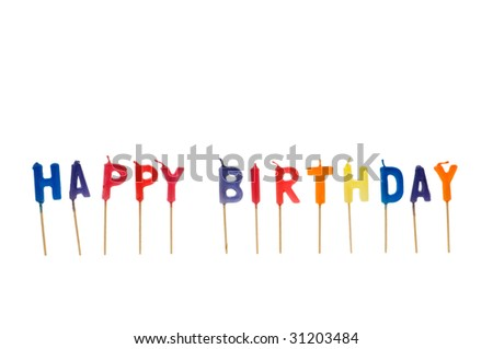 Happy birthday isolated on the white background - stock photo