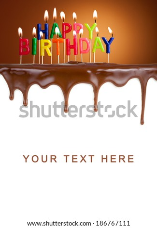 Happy birthday lit candles on chocolate cake template - stock photo