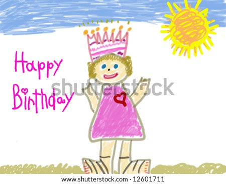 Happy Birthday little girl's drawing - stock photo