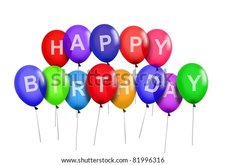Happy Birthday Party Balloons - stock photo