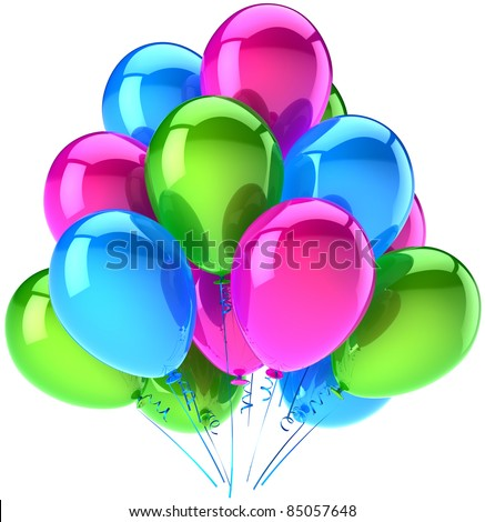 Happy birthday party balloons decoration pink green blue. Anniversary graduation retirement occasion greeting card concept. Happiness positive abstract. Detailed 3d render isolated on white background - stock photo