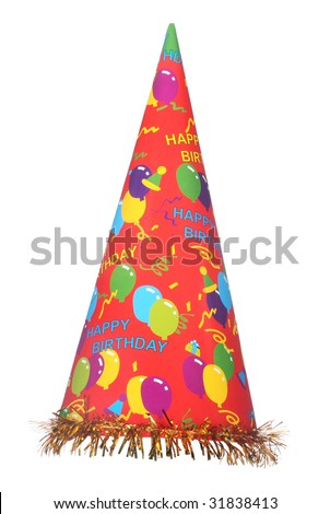 Happy birthday party hat isolated on white background
