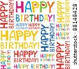 Happy birthday seamless background pattern - stock vector