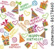 happy birthday. seamless wrapping paper - stock photo