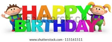 Happy Birthday slogan with cute cartoon kids - high quality 3d illustration - stock photo