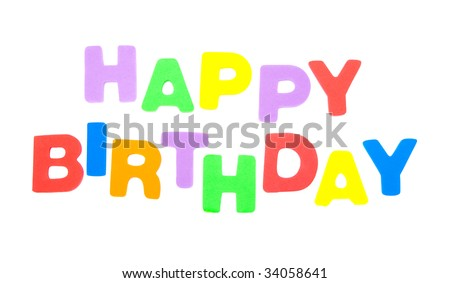 happy birthday spelled in colorful letters