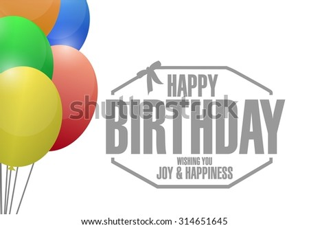 happy birthday stamp balloons illustration design graphic - stock photo