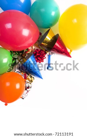 happy birthday studio shot on a white background - stock photo